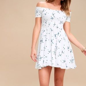 White and Blue Off-the-Shoulder Dress